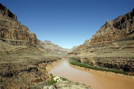 The Grand Canyon and the Colorado River are seen in Grand Canyon, Arizona, April 1, 2007. A four-year-old Arizona girl walking at the edge of the Grand Canyon slipped and plunged about 450 feet to her death on Tuesday, a park official said. REUTERS/Mario Anzuoni