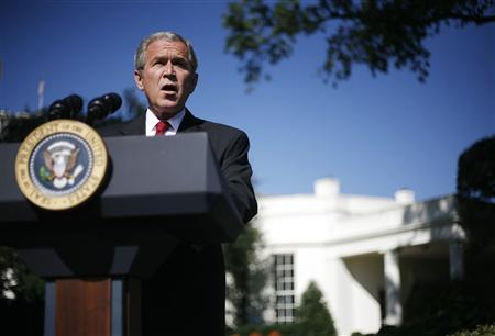 President Bush makes a statement on the Foreign Intelligence Surveillance Act at the White House in Washington, October 10, 2007. REUTERS/Jim Young