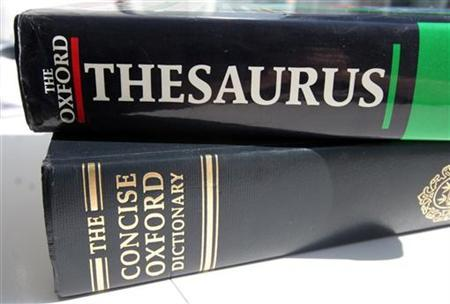 A generic picture of an English dictionary and a thesaurus. Irregular verbs are the bane of any effort to learn English, but new research looking at how language evolves suggests frequent use keeps pesky irregular verbs like ''take'' from evolving into ''taked.'' REUTERS/Catherine Benson