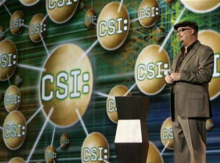 Anthony E. Zuiker, creator of the CSI television show, speaks at the 2007 International CES (Consumer Electronics Show) in Las Vegas, Nevada January 9, 2007. Zuiker dropped some clues to an upcoming Second Life integration with his CBS series in his address here Wednesday at the Virtual Worlds Conference and Expo. REUTERS/Rick Wilking