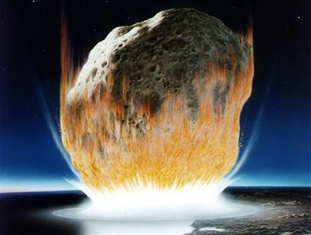An artist's conception of an asteroid hitting the Earth at the boundary of the Cretaceous and Tertiary periods. An asteroid is on a collision course with the earth and you have one hour left to live. What would you do in your last 60 minutes? Not surprisingly, the majority of Britons questioned in a survey -- 54 percent -- said they would like to spend it either with or on the phone to their loved ones. REUTERS/NASA