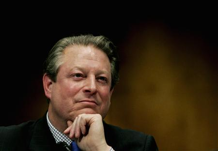 Former Vice President Al Gore testifies before the Senate Environment and Public Works Committee on global warming, on Capitol Hill in Washington, in this March 21, 2007 file picture. British bookmakers cut the odds of Al Gore becoming the next president of the United States and started to sweat as the former vice president won the Nobel Peace Prize on Friday. REUTERS/Jim Young