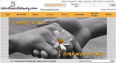 A screenshot of idontwantdowry.com taken on October 12, 2007. REUTERS/www.idontwantdowry.com