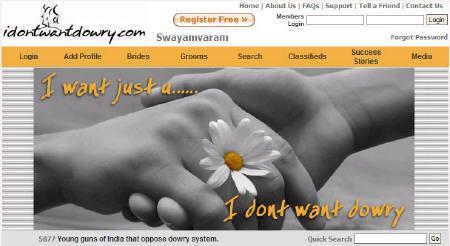 A screenshot of idontwantdowry.com taken on October 12, 2007. REUTERS/www.idontwantdowry.com