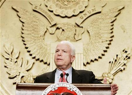 Republican presidential hopeful and U.S. Sen. John McCain (R-Az) speaks to the National Rifle Association's 'Celebration of American Values Conference' in Washington, September 21, 2007. REUTERS/Larry Downing
