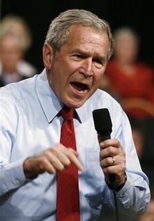 U.S. President George W. Bush speaks on the economy and budget in Rogers, Arkansas, October 15, 2007. REUTERS/Jason Reed