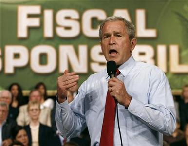 President Bush speaks on the economy and budget in Rogers, Arkansas, October 15, 2007. REUTERS/Jason Reed