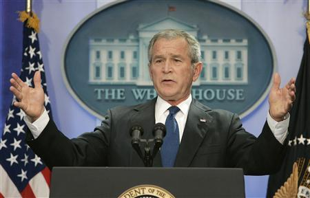 U.S. President George W. Bush holds a news conference in the press briefing room of the White House in Washington, October 17, 2007. REUTERS/Larry Downing