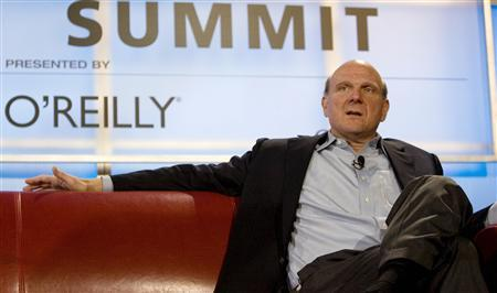 Steve Ballmer, Chief Executive Officer of Microsoft Corporation, speaks at the Web. 2.0 Summit in San Francisco, October 18, 2007. REUTERS/Kimberly White