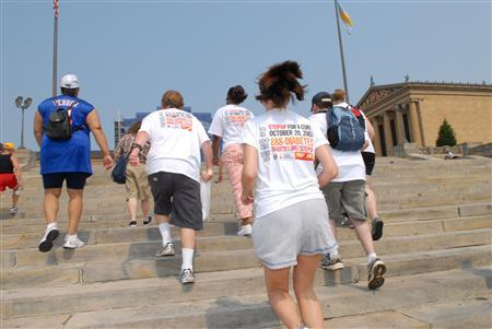 People train for a the Step Up to Fight Diabetes campaign at the famous Philadelphia Museum of Art in this undated file photo. Philadelphia is home to the least attractive people in the United States, a survey of visitors and residents showed on Friday. The city of more than 1.5 million people was also found to be among the least stylish, least active, least friendly and least worldly, according to the ''America's Favorite Cities'' survey by Travel & Leisure magazine and CNN Headline News. REUTERS/PRNewsFoto/American Diabetes Association