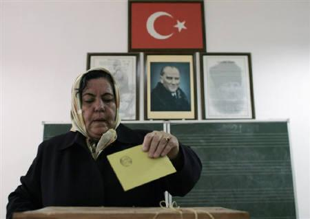 A woman casts her vote during a referendum at a voting centre in a primary school in Ankara October 21, 2007. Turkish voters strongly endorsed in a nationwide referendum on Sunday plans to have future presidents elected directly by the people instead of being chosen by parliament, partial results showed. REUTERS/Umit Bektas