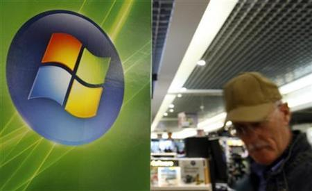 A man walks by the logo of Microsoft in a shop in Brussels, September 17, 2007. REUTERS/Sebastien Pirlet