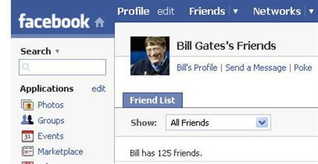 A screenshot of a Facebook page entitled ''Bill Gates's Friends.'' Microsoft Corp said on Wednesday it would pay $240 million for a 1.6 percent minority equity stake in Facebook in a deal that values the popular social networking Web site at $15 billion. REUTERS/www.facebook.com