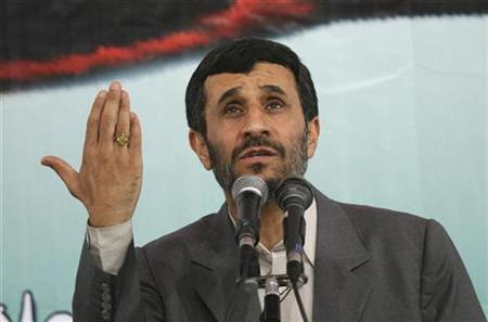 Iran's President Mahmoud Ahmadinejad speaks in Tehran University, October 8, 2007. Some Democratic presidential candidates worried on Thursday the White House had begun a march to war by declaring Iran's Revolutionary Guard a terrorism supporter while a top Republican said ''bombardment'' of Iran should be an option. REUTERS/Stringer