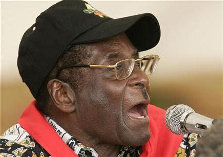 Zimbabwe's President Robert Mugabe speaks at his official 83rd birthday party in Gweru, February 24, 2007. Mugabe has launched an intelligence academy named after him, saying it would produce officers able to counter growing threats from Western powers, state media reported on Friday. REUTERS/Howard Burditt