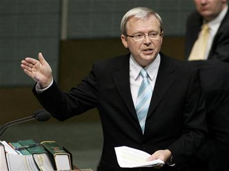 Kevin Rudd speaks during Question Time in the Australian Federal Parliament in Canberra February 12, 2007. A YouTube clip of Australia's Prime Ministerial hopeful Kevin Rudd as a Chairman Mao-figure in a spoof Chinese propaganda film is spearheading a guerrilla video campaign undermining the major parties' election advertising. REUTERS/Andrew Sheargold