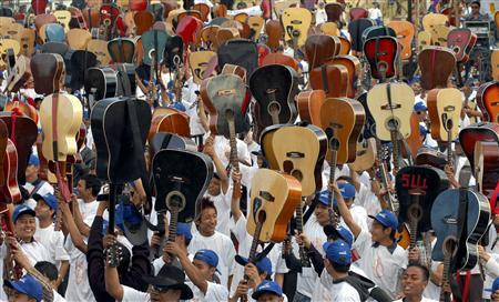 Guitarists hold their guitars at a stadium in Shillong, the capital of India's northeastern state of Meghalya, October 26, 2007. REUTERS/Utpal Baruah