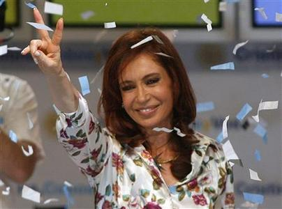 Argentina's first lady and president-elect senator Cristina Fernandez de Kirchner celebrates at their campaign headquarters in Buenos Aires, October 28, 2007. REUTERS/Andres Stapff