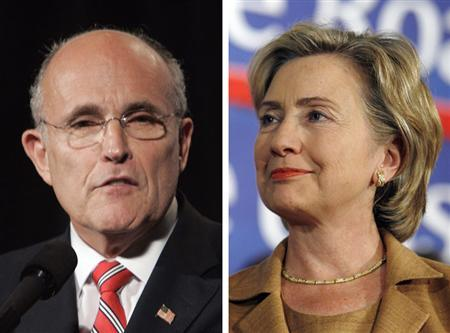 Presidential candidates Rudy Giuliani (L) and Hillary Clinton are seen in a composite file photo. Traders on the Iowa Electronic Markets, which have been predicting U.S. elections with surprising accuracy for 20 years, are expecting a tight presidential vote next year, with the Democrat narrowly defeating the Republican. And the most likely match-up? Hillary Clinton vs. Rudy Giuliani. REUTERS/File