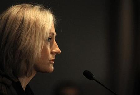 British author J.K. Rowling of the popular Harry Potter book series speaks at a news conference after accepting the Order of the Forest award, which was given to her for encouraging her publishers to print her books on environmental friendly paper, in Toronto October 23, 2007. A book billed as an unofficial encyclopedic companion to the ''Harry Potter'' book series infringes copyright and attempts to cash in on the successful series, Rowling and Warner Bros. said in statements announcing a lawsuit filed on Wednesday. REUTERS/Mark Blinch