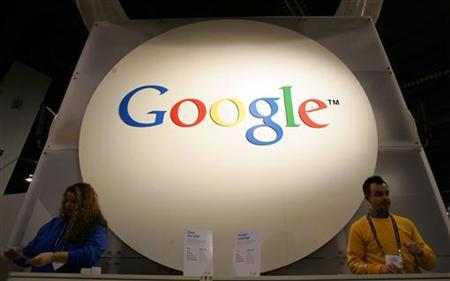 The Google booth is seen at the 2006 Consumer Electronics Show in Las Vegas, January 5, 2006. Sprint Nextel Corp, the No. 3 U.S. mobile service, is in talks to put applications from Web search leader Google Inc on its cell phones, a person familiar with the matter said on Wednesday. REUTERS/Rick Wilking