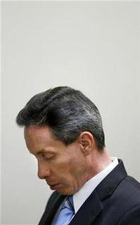 Warren Jeffs looks down during closing defense arguments in Jeffs' trial in St. George, Utah, September 21, 2007. Jeffs, convicted of being an accomplice to rape, renounced his role as prophet while awaiting trial because he had been ''immoral'' with a sister and a daughter 30 years ago, according to a court document. REUTERS/Trent Nelson/Pool