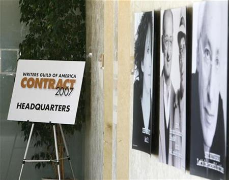 A sign marks the location of the Writers Guild of America's contract headquarters where negotiators are meeting to strategize, at the Writers Guild offices in Los Angeles, October 10, 2007. Now that the Writers Guild of America's contract has expired, some networks are better placed than others to deal with a potential strike. REUTERS/Fred Prouser