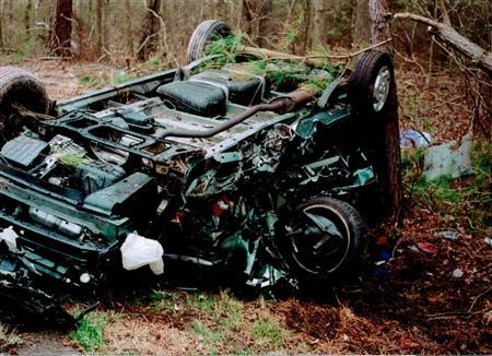 This handout image from the Virginia State Police shows the wreckage of Tom Callaghy's Dodge Minivan after a crash on U.S. Highway 13 on Virginia's Eastern Shore, April 1, 2001. Callaghy's wife, Janie, was killed in the crash, one of more than 1,550 people killed each year by drowsy driving. REUTERS/Virginia State Police/Handout
