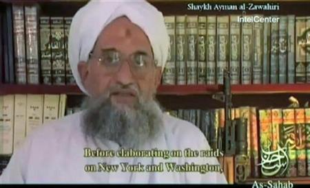 Al Qaeda's second-in-command Ayman al-Zawahri speaks in a grab from a video released September 20, 2007. Al-Zawahri said a Libyan Islamist group had joined the militant organization and he urged mujahideen in North Africa to topple the leaders of Libya, Tunisia, Algeria and Morocco. REUTERS/via Internet