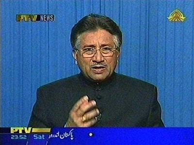 Pakistan's President Pervez Musharaff speaks in Islamabad in this image taken from television footage dated November 3, 2007. Pakistan President Pervez Musharraf addressed the nation on Saturday hours after imposing emergency rule, saying terrorism and extremism had reached their limit and his country's sovereignty was at stake. REUTERS/PTV via Reuters TV