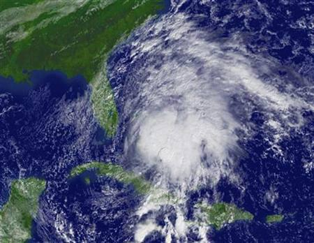 This satellite image shows Tropical Storm Noel east-southeast of Florida on November 1, 2007. The remnants of the deadliest storm of the 2007 Atlantic hurricane season, battered the New England coast on Saturday with winds gusting up to 114 kph and heavy rain. REUTERS/National Oceanic & Atmospheric Administration/Handout