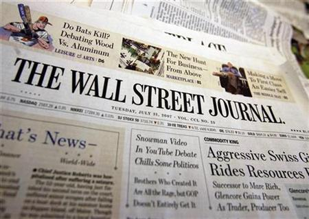 A copy of the Wall Street Journal is seen at an office in New York, July 31, 2007. The Wall Street Journal said on Sunday that its Web site now has 1 million subscribers, a milestone for a site that charges for access even as other sites are throwing themselves open for free. REUTERS/Shannon Stapleton
