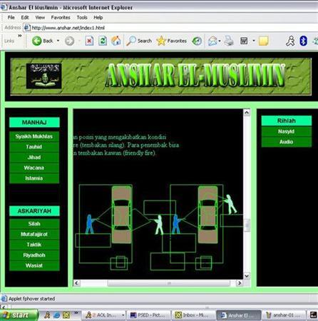 A web site purportedly set up under orders from a leading Asian militant is seen in this screenshot taken November 18, 2005. Western authorities believe the Internet is playing a dangerous and growing role in spreading extremist propaganda and recruiting sympathizers to Islamist militant causes. REUTERS/Stringer