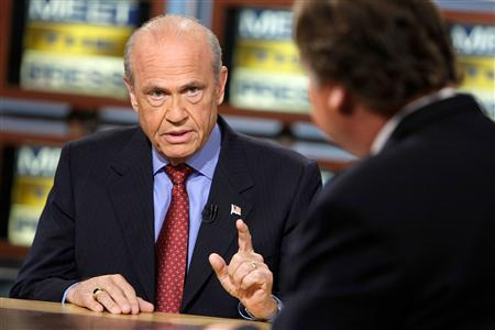 Republican presidential hopeful and former Senator Fred Thompson (R-TN) (L) speaks as he is interviewed by moderator Tim Russert during a taping of ''Meet the Press'' at the NBC studios November 4, 2007 in Washington. REUTERS/Alex Wong - Meet the Press/Handout