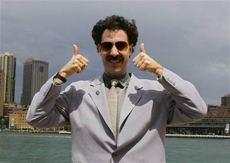 British actor Sacha Baron Cohen, acting as Kazakh TV reporter known as 'Borat', poses for photographers in Sydney in this November 13, 2006 file photo. REUTERS/David Gray