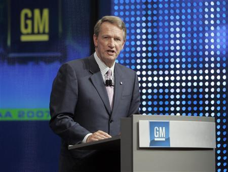 General Motors CEO Rick Wagoner in a file photo. General Motors said on Tuesday it would book a $39 billion non-cash charge in the third quarter, reflecting the risk of a slower turnaround that could keep it from claiming expected future tax credits in key markets. REUTERS/Alex Grimm