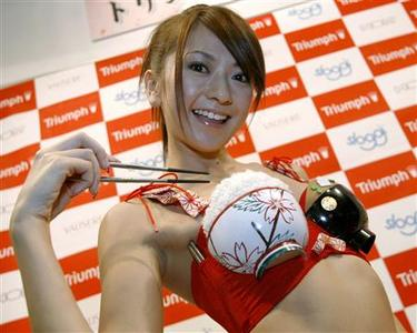 Lingerie maker Triumph International Japan's new promotional girl Yuko Ishida poses with the concept bra called 'My Chopsticks Bra' in Tokyo, November 7, 2007. REUTERS/Toru Hanai