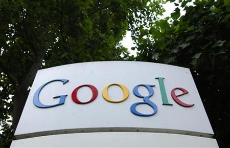 The logo of Google Inc. is seen outside their headquarters building in Mountain View, California August 18, 2004. Google Inc <GOOG.O> faces a federal patent infringement lawsuit by Northeastern University over technology used in its core Web search system, according to legal papers filed last week. REUTERS/Clay McLachlan