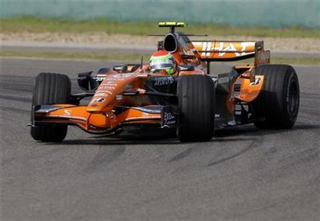 In this file photo Spyker Formula One driver Sakon Yamamoto of Japan drives during a practice session for Chinese F1 Grand Prix in Shanghai October 5, 2007. Formula One bosses have signed a deal with an Indian company to build a race track near the national capital New Delhi, an Indian newspaper reported on Thursday. REUTERS/David Gray