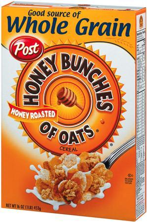 A box of Kraft's Post cereal , Honey Bunches of Oats is seen in this undated handout photo. Ralcorp Holdings Inc said on Thursday that it would acquire Kraft Foods Inc's Post cereals business in a deal valued at about $1.65 billion. REUTERS/Handout