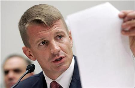 Blackwater Chief Executive Erik Prince testifies before the House Oversight and Government Reform Committee on security contracting in Iraq and Afghanistan on Capitol Hill in Washington, October 2, 2007. A U.S. grand jury has opened an investigation into the shooting deaths of 17 Iraqi citizens in September by Blackwater private security employees guarding a U.S. Embassy convoy in Baghdad, ABC News reported on Monday. REUTERS/Larry Downing