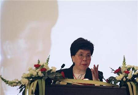 Margaret Chan, director-general of the World Health Organization, gestures as she gives a speech at the opening ceremony of the Global Forum for Health Research in Beijing October 29, 2007. Countries must prepare for a human influenza pandemic and share samples linked to the H5N1 bird flu virus, Chan said on Tuesday. REUTERS/China Daily