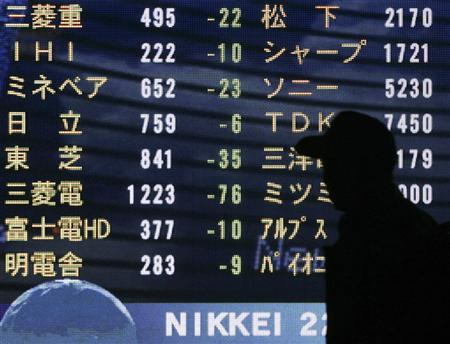 A man walks past a screen displaying stock prices in Tokyo November 21, 2007. REUTERS/Michael Caronna