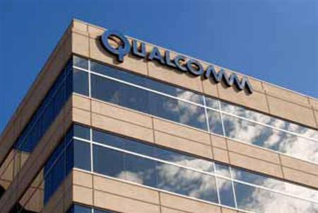 The Qualcomm logo in a file photo. Wireless chipmaker Broadcom Corp said on Friday it will not receive double damages awarded in a lawsuit after a federal judge affirmed a jury verdict that found rival Qualcomm infringed three patents. REUTERS/Handout