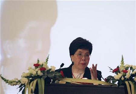 File photo of Margaret Chan, director-general of the World Health Organization, giving a speech at the opening ceremony of the Global Forum for Health Research in Beijing, October 29, 2007. REUTERS/China Daily/Files