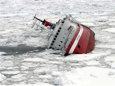 The M/S Explorer cruise ship sinks hours after hitting an iceberg off the coast of the Antarctic, in this photo released by the Chilean Army, November 23, 2007. REUTERS/Chilean Navy/Handout