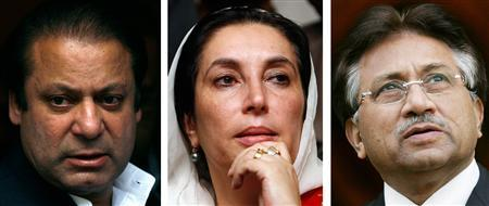 A combination of file photos shows (L-R) former Pakistani prime minister Nawaz Sharif leaving his home in London September 9, 2007, former prime minister Benazir Bhutto attending a news conference in Lahore November 11, 2007 and President Pervez Musharraf.in Buckinghamshire, southern England September 28, 2006. REUTERS/Luke MacGregor (L) Mohsin Raza (C) and Pool