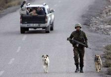 <p>Военнослужащий турецкой армии патрулирует дорогу в провинции Сирнак на юго-востоке страны 11 ноября 2007 года. Власти Турции разрешили вооруженным силам страны пересечь границу с Ираком с целью проведения операции против боевиков Рабочей партии Курдистана (РПК), базирующихся на севере Ирака, сообщил премьер-министр Турции Тайип Эрдоган в пятницу. (REUTERS/Denis Sinyakov)</p>