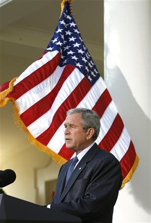 President George W. Bush makes a statement from the Rose Garden of the White House regarding Congress' legislative priorities for the remainder of the year in Washington December 3, 2007. REUTERS/Kevin Lamarque