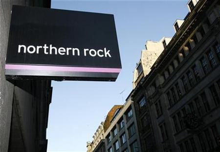 A sign of a Northern Rock branch is seen in London November 26, 2007. REUTERS/Luke MacGregor